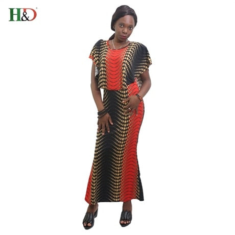 women dresses ruffle long robe ankle length stripe african clothing