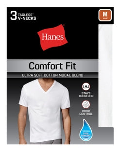 Hanes Men's Comfort Fit V-Neck Undershirt 3-Pack