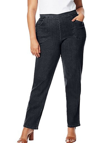Just My Size 2-Pocket Flat-Front Jeans, Average Length