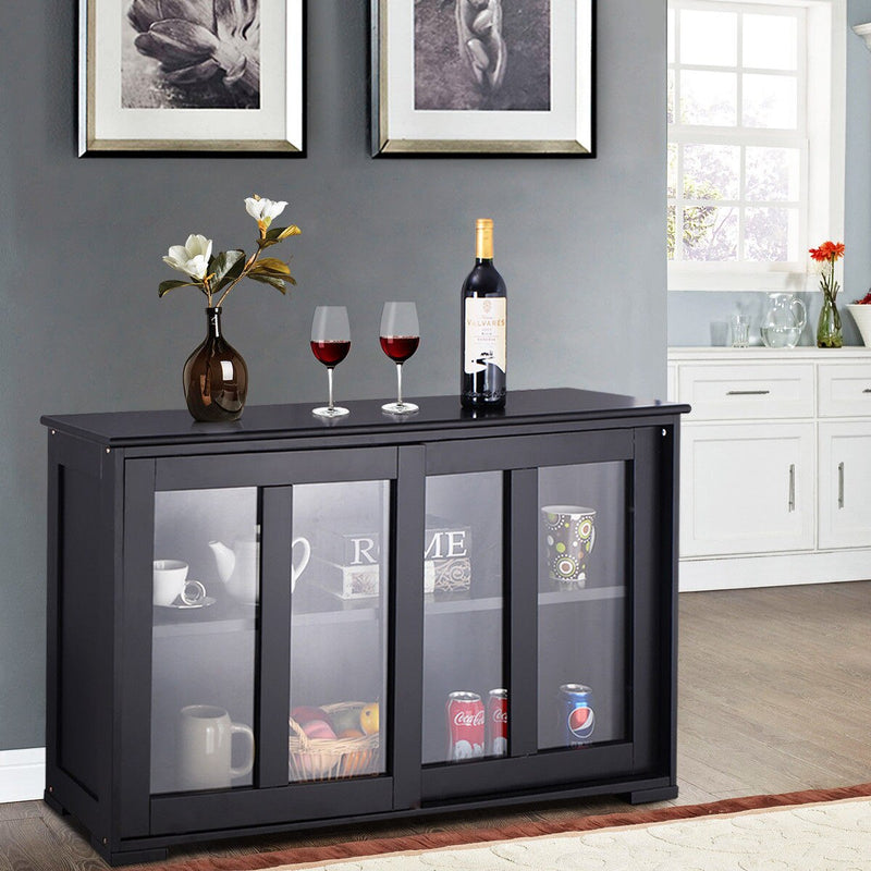 Costway Storage Cabinet Sideboard Buffet Cupboard Glass Sliding Door Pantry Kitchen