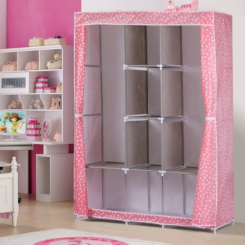 Large Fully-Closed Clothes Storage Organizer with Metal Shelves & Dustproof Non-woven Fabric Cover