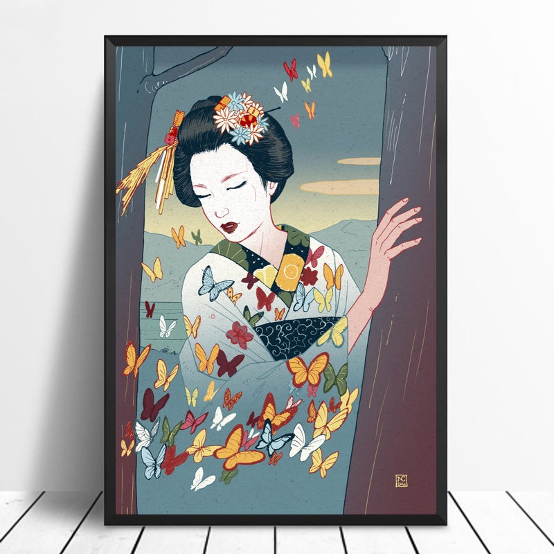 Japanese Art The Geisha In The Night Wall Decor Oil Paintings Canvas Prints Poster No Frame