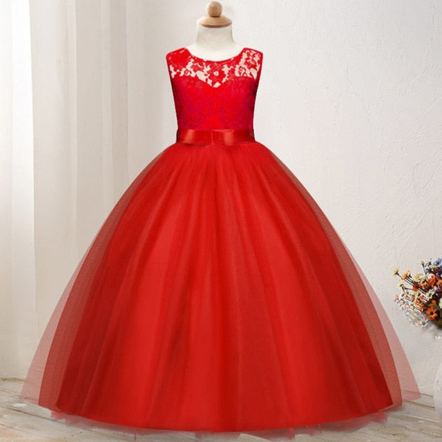Kids dresses for girls Teenage party princess dress red white dress