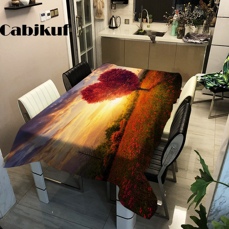 Modern Fantasy Scenery Waterproof Table Clothes
