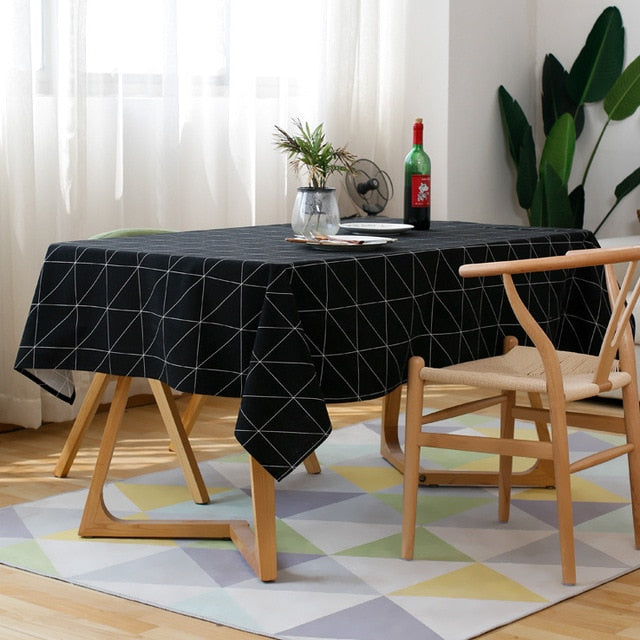 Modern Square Plaid Black And White Waterproof Table Clothes
