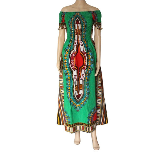 Vintage Women's Dashiki Dress Petal Sleeve Slash neck African Print