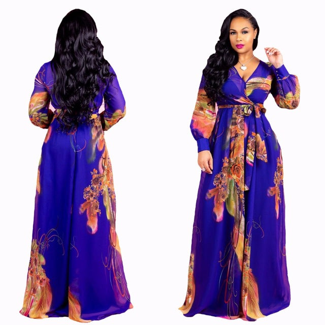 African Women clothing elastic fabric long sleeve dress