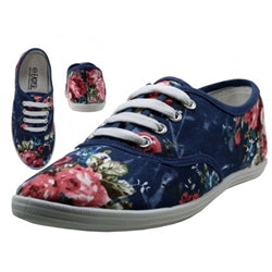 Wholesale Women's Navy Roses Canvas Shoes Case Pack 24