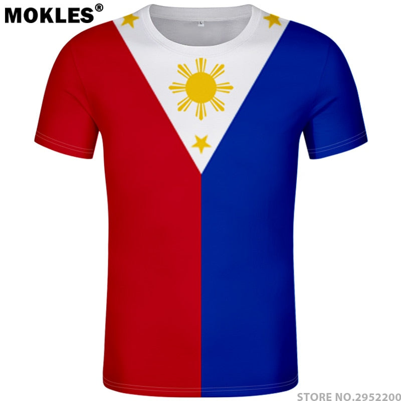 PHILIPPINES t shirt diy free custom name number phl t-shirt nation flag