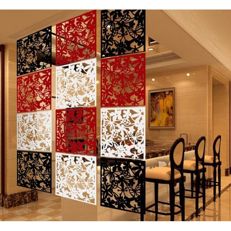 Pack of 4pcs Flower Hanging Screen Curtain Room Divider Partition Wall Black