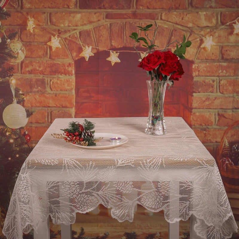 Pinecone Angel Christmas Table Clothes New Year Party Home Decorative Table Cloth Lace Flag New