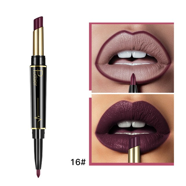 Pudaier Double-end Red Lipstick Waterproof Lip Liner Pen Makeup Cosmetics