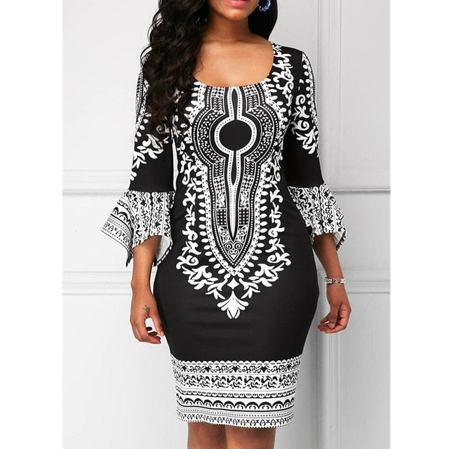 RICHE BAZIN African Dashiki For Women Style Printed Long Sleeve Round Neck Dress
