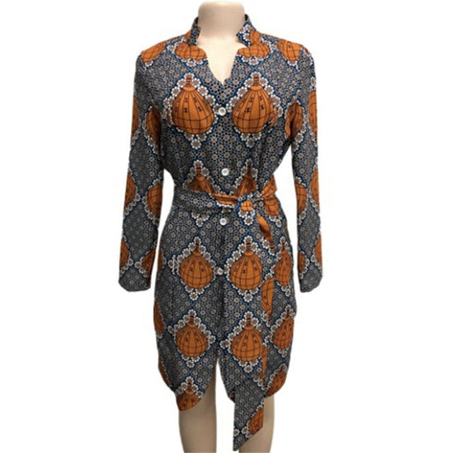 African Dress for Women V-neck Printing Waist Strap Long-sleeved Mid-length Dress