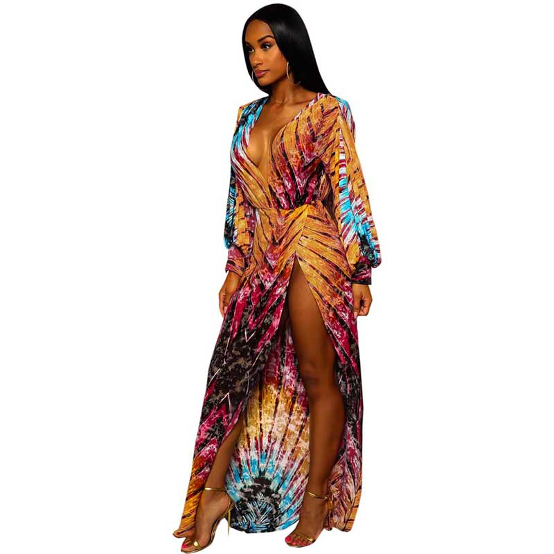 Vintage Bohemian Print Deep V Neck Long Sleeve Split Slim Maxi Dress