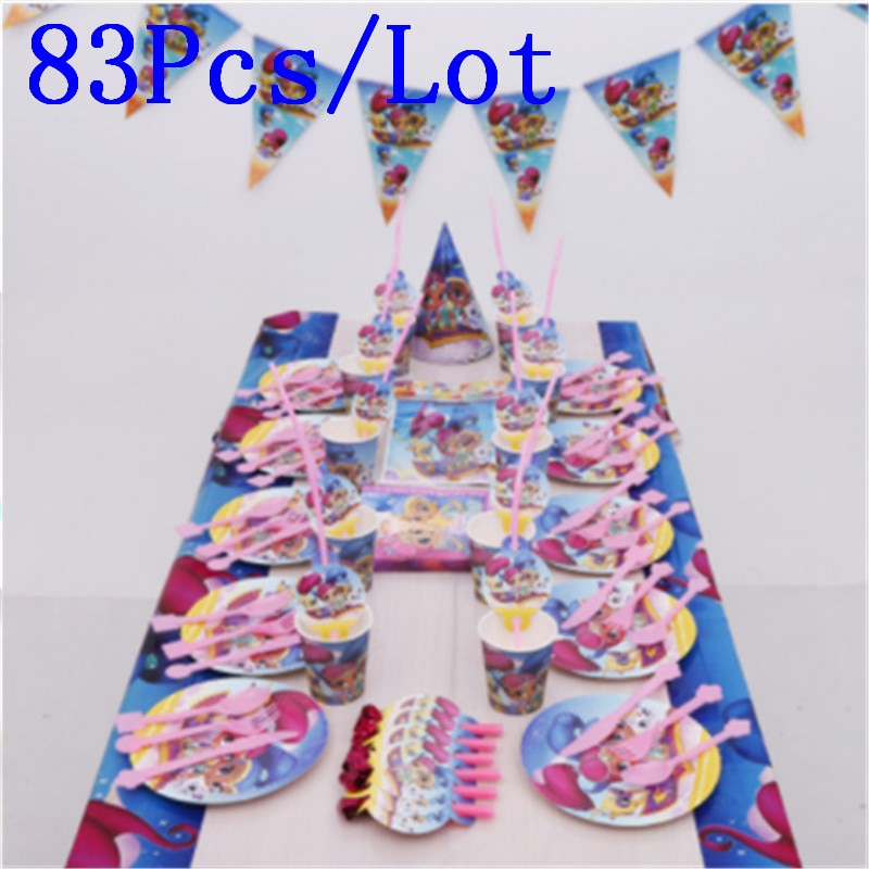 Shimmer and Shine Theme Cup Plate Napkin 83Pcs Party Decoration For 10 People
