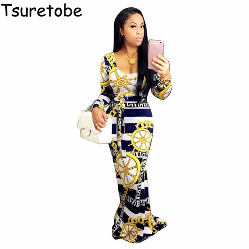 Long Sleeve Dashiki Women Elegant Vintage Print African Dress