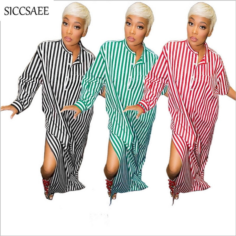 Vertical Striped Print Robe Longue Femme Boho Style