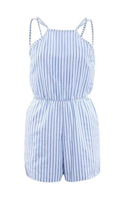 Women Backless Sleeveless Slim Striped Loose Casual Short Jumpsuit