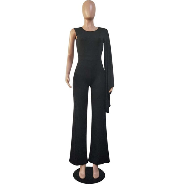 Women Jumpsuit Solid One Shoulder Long Sleeve Slim Overall