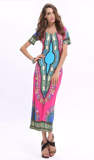 Casual African Dashiki Totem Printed Long Dress