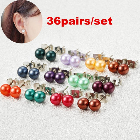 Women's Fashion Multicolor Pearl piercing Stud Earrings Jewelry Pack Of 36pairs