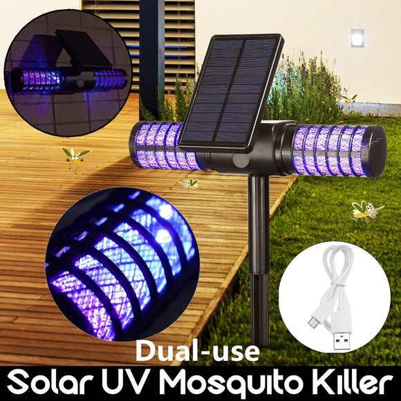 Dual-use Solar Powered Outdoor Mosquito Fly Bug Insect Zapper Killer Trap Lamp Light