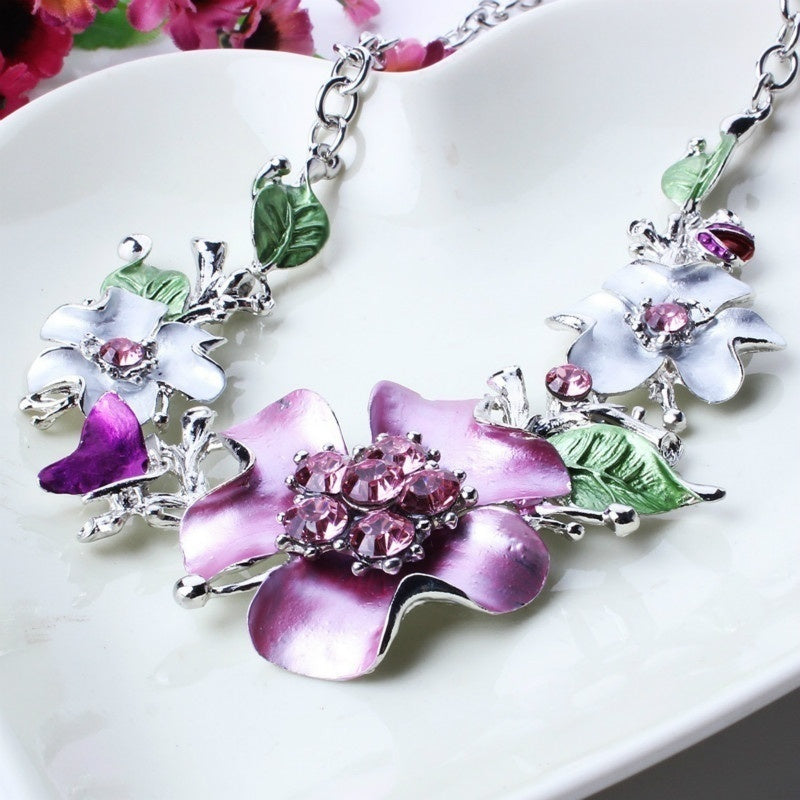 Stylish Alloy Women Necklace Earrings Sets Rhinestone Jewelry Chokers Necklace