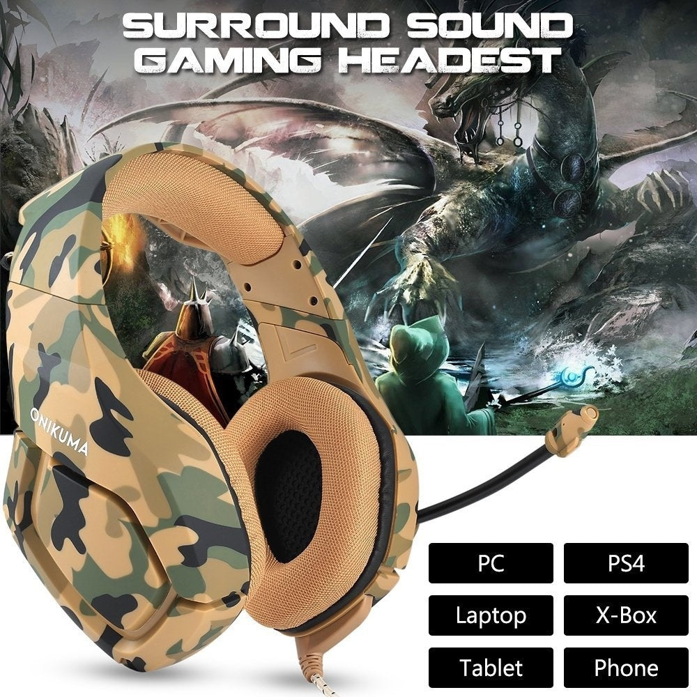 ONIKUMA K1 Camouflage PS4 Gaming Headphones Game Earphones Casque with Mic  for PC Mobile Phone New Xbox One Tablet