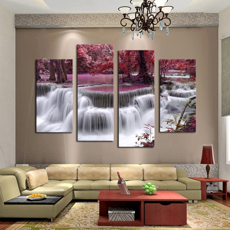 Unframed Wall Deco 4 Panel Sets Beautiful Waterfall Landscape Painting Flowers