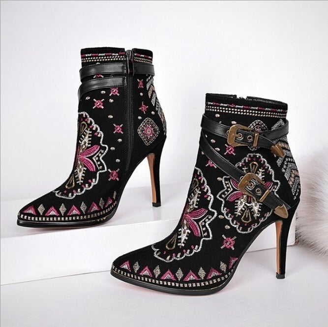 Women's Shoes Vintage Embroidered heels Boots Belt Buckle Pointed High-heeled Knight Boots