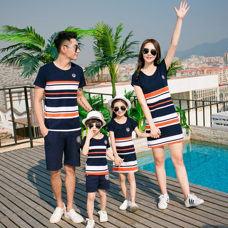 Family Matching Outfits Summer Fashion Striped