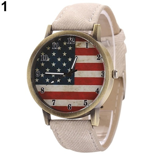 United States Flag wristwatch Denim Strap dial Quartz
