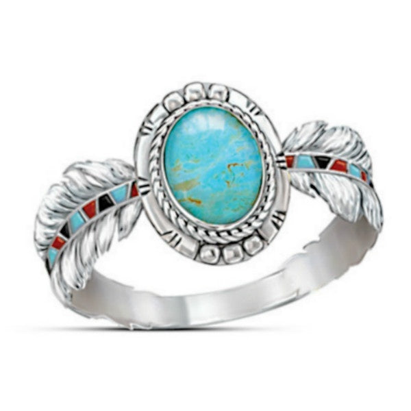 Vintage fashion women's 925 sterling silver feather ring natural turquoise gem