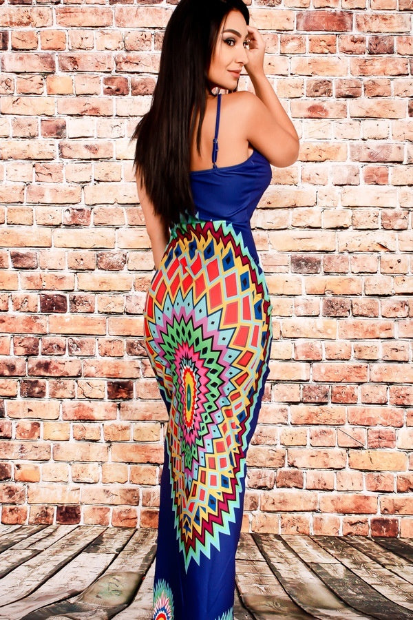 Women African Printed Totem Dresses High Waist Bodycon Maxi Dress
