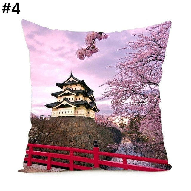 Japanese Style Sakura Fuji  Home Sofa Zipper Square Cushion Cover