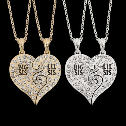 2 Pcs/Set Full Crystal Pendant & Necklace Big Little Sister Broken Heart Rhinestone