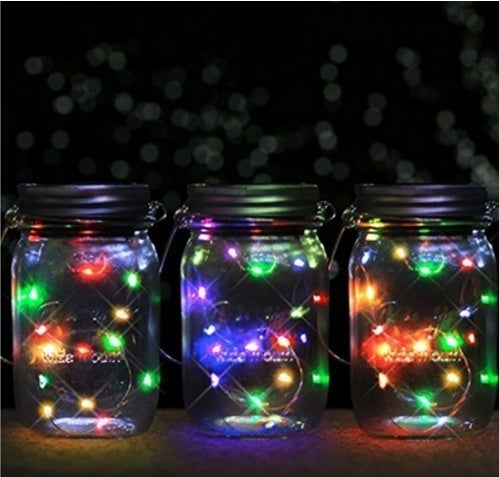 LED Fairy Light Solar Mason Jar Lid Lights Color Changing Garden Decor Lanterns