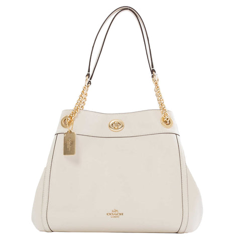 Coach Leather Turnlock Edie Shoulder Bag, Chalk