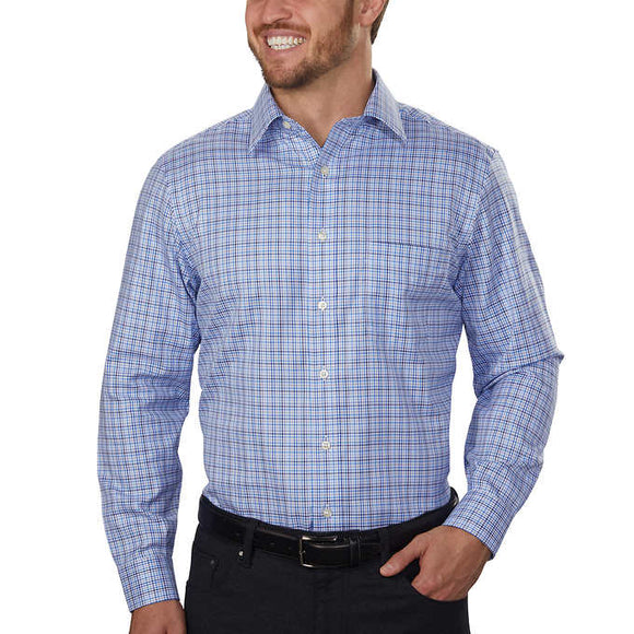 Kirkland Signature Men's Tailored Fit Dress Shirt, Blue Mini Check
