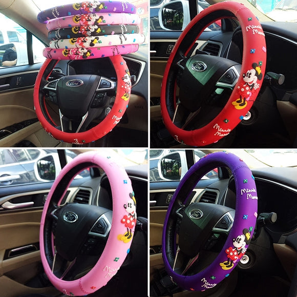 Car Styling Bow Car Steering Wheel Cover cute Cartoon Universal