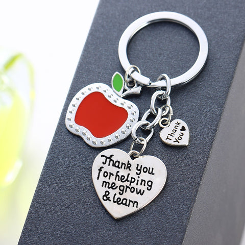 Apple Love Heart Charm Keyring Thank You For Helping Me Grow&Learn Key Chain