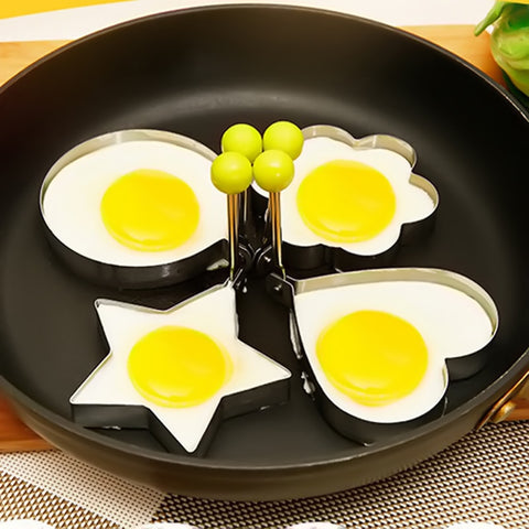 Stainless Steel 4 Shapes Fried Egg Pancake Shaper Omelette Mold  Rings