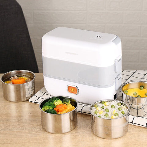Stainless Steel Electric Lunch Box Thermal Heating Food Steamer Cooking Container