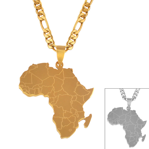 Africa Map Pendant Necklaces Gold Color Jewelry For Women Men