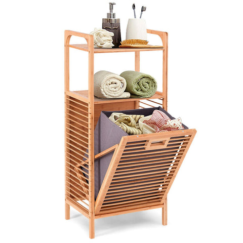 Laundry Hamper Tilt Out Bin Bamboo Shelf Slat Frame Space Saving Storage