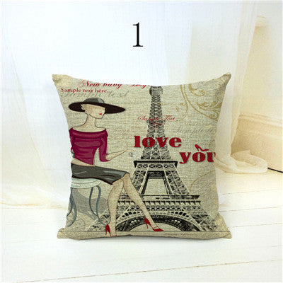 45x45cm Fashion Lady London Big Ben Pillow Case Burlap Sofa