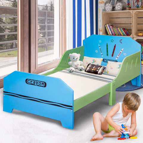 Crayon Themed Wood Kids Bed with Bed Rails for Toddlers and Children
