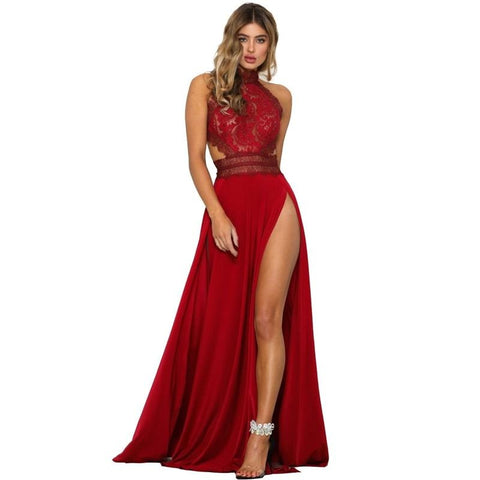 Sheer Lace High Slit Maxi Evening Dresses Backless