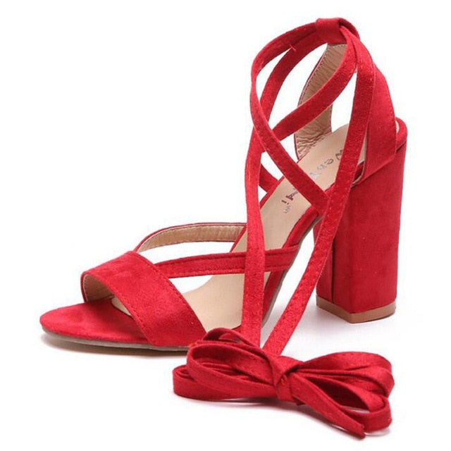 HEE GRAND Women Thick Heel Summer Sandals Cross-tied Ankle Lace Pumps Shoes XWZ4926